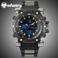 INFANTRY Men's Chronograph Quartz Dual Wrist Watch Backlight Black Rubber Fashion Military Pilot Sport Watches