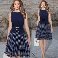 Newest Womens Celeb Style Peplum sleeveless chiffon dot Slim fit Skater Ball Gown pleated Dress