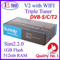 Lower Price!! Sunay sr4 V2 wifi DVB-S/S2/C/T2 Triple tuner Satellite tv Receiver 1GB Flash 521MB RAM sim2.20 REV.E 400mhz CPU