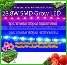 28.8w 2 stück pro Los, 1 630 nmred + 1 450 nmblue smd streifen wachsen licht, flexible led wachsen licht für wachsen box Hydrokultur-System(China (Mainland))