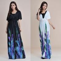 Bohemian V Neck Long beach dress for women high waist halter ladies maxi dress Feather Printing black maxi dress M~6xl