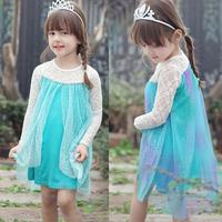 Snow Queen girl Elsa dress, new style Elsa summer dress, blue tulle  new 2015 baby & kids girls dresses kids clothes