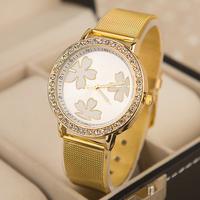 Quartz Casual watch Fashion Bright Gold band  Women wristwatches Brand New Metal Mesh Stainless Steel watches-EMSX10XA11
