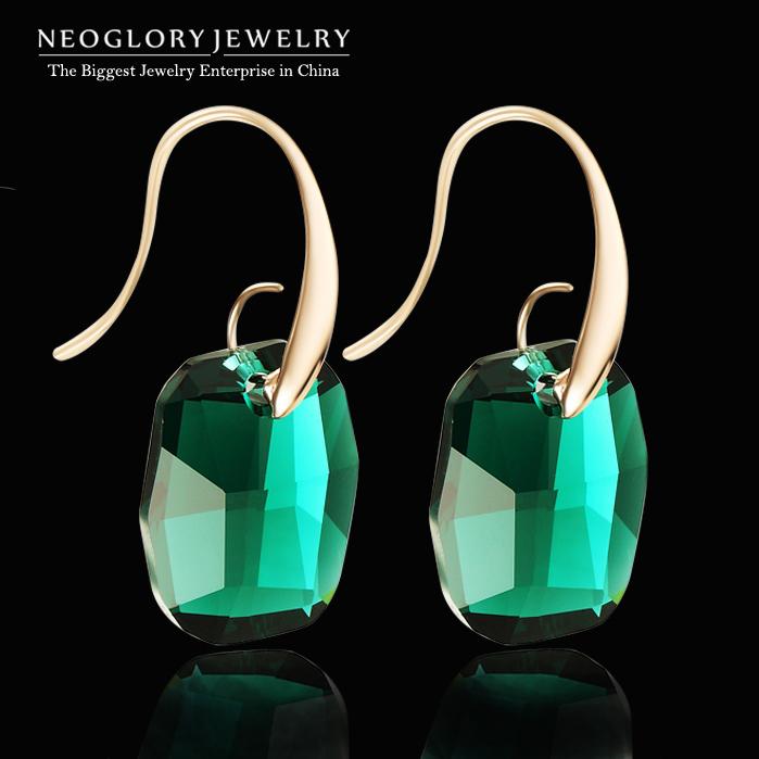 neoglory austriaca verde cristallo placcato oro orecchini pendono per le donne 2014 arrivo nuovo dono fascino elegante gioielli di marca