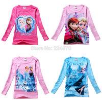 Children kids baby Frozen Princess T shirt long sleeve girl tees T shirt clothing 2014 Spring Autumn t shirt free shipping