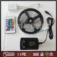 Free Shipping RGB led strip 3528 flexible strip light DC12V 5M 300led +24key IR remote controller +power adapter EU/US/AU Plug