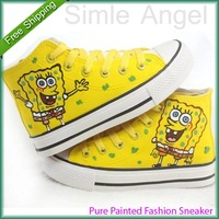 New SpongeBob Expression Style Kids Canvas Shoes for Boys Girls Sneakers 2014 High Hand-painted Shoes Size EU23-36 Free Shipping