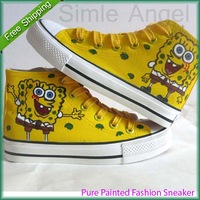 New SpongeBob Expression Style Canvas Shoes for Women Men Sneakers 2014 High Hand-painted Shoes Size EU 35-45 Free Shipping