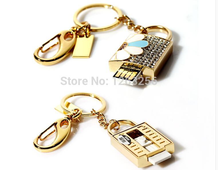 Diamond lock drive 64GB 32GB 16GB 8GB 4GB 2GB mini usb flash drive flash disk Creative flash card free shipping(China (Mainland))