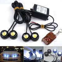 Wonderful!2014 New 4pcs White LED Eagle Eye Knight Night Rider Scanner Lighting DRL Flashing Lights  Lamp + Remote B16 SV002765