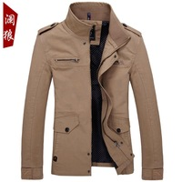 2014 brand  jacket for men spring autumn coat korean slim long style Thin section washing high quality pure cotton casual jacket