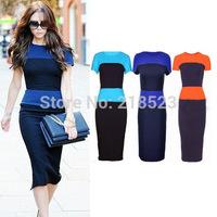 New 2014 Autumn dress Victoria beckham Style Stripe Open Back zip Office dress Women bodycon dress plus size, xxl