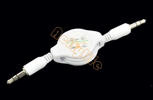 New 3.5mm Retractable White Extension Cable Male/Male Aux Audio Cord For iphone ipod MP3 #005 9912(China (Mainland))