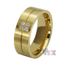 Fashion stainless steel  women and men wedding rings with rhinestones design