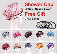 Free Gifts 2 hair hands+ Polka Dot Women Waterproof Shower Caps Elastic Band Hat Hair Bath Double Shower Spa Cap