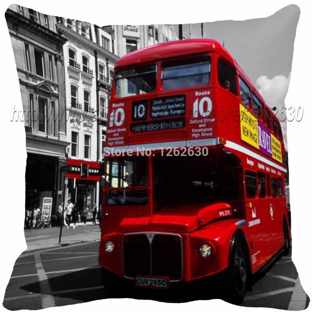 vintage London City red bus style cushion print throw pillow decorative sofa luxury decorative home decor()