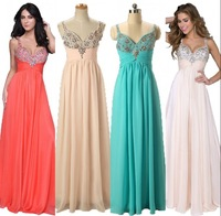 Vnaix EV028 Sweetheart Pink Chiffon Summer Beaded and Rhinestones Long Dress Party Evening Elegant Evening Dress 2014