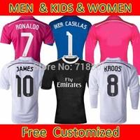 Cristiano Ronaldo Real Madrid Jersey 2015 Kit #10 JAMES Jerseys 14/15 Real Madrid KROOS #7 Ronaldo Jersey Best Thailand FANS V.