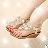 2014 Fashion Diamond Beaded Women's Slippers Wedges Style Star Classic Sandals flip Platform Sweet Women's Shoes Sandals