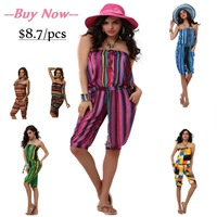 Fashion short jumpsuits 6 colors women sexy  striped overall pants regular style mid waist with sashes