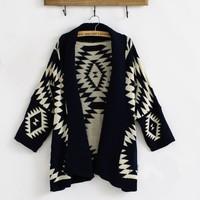 2014 Women's Fashion Sweater Roman Geometric Patterns In A Long Sweater Coat Loose Knit Shawl Cardigan Sweater  MBZ022