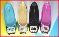 hot discount 2014 new autumn casual sweet flat heel diamond women shoes metal toe bow rhinestone women flats size 40-35