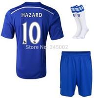 Chelsea #10 Eden Hazard Home jersey full set ,14-15 chelsea Football Training Uniform with the match socks