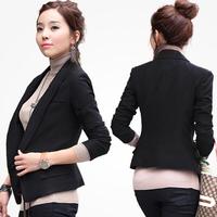 New Autumn Ladies Business Suit Coat 2015 Spring Singles Breasted Plue size OL Blazer Short Coat Casual Black Suit Jacket S-XXXL