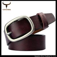 "New arrival ""COWATHER"" mens luxury brand belt 100% cow leather belts for men, men belt pin buckle size105-130cm cinto masculino"