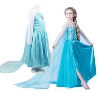 New 2014 Autumn vestido Elsa Anna Frozen Tutu Dress kids party children cosplay costume Christmas Girls dresses clothing sets