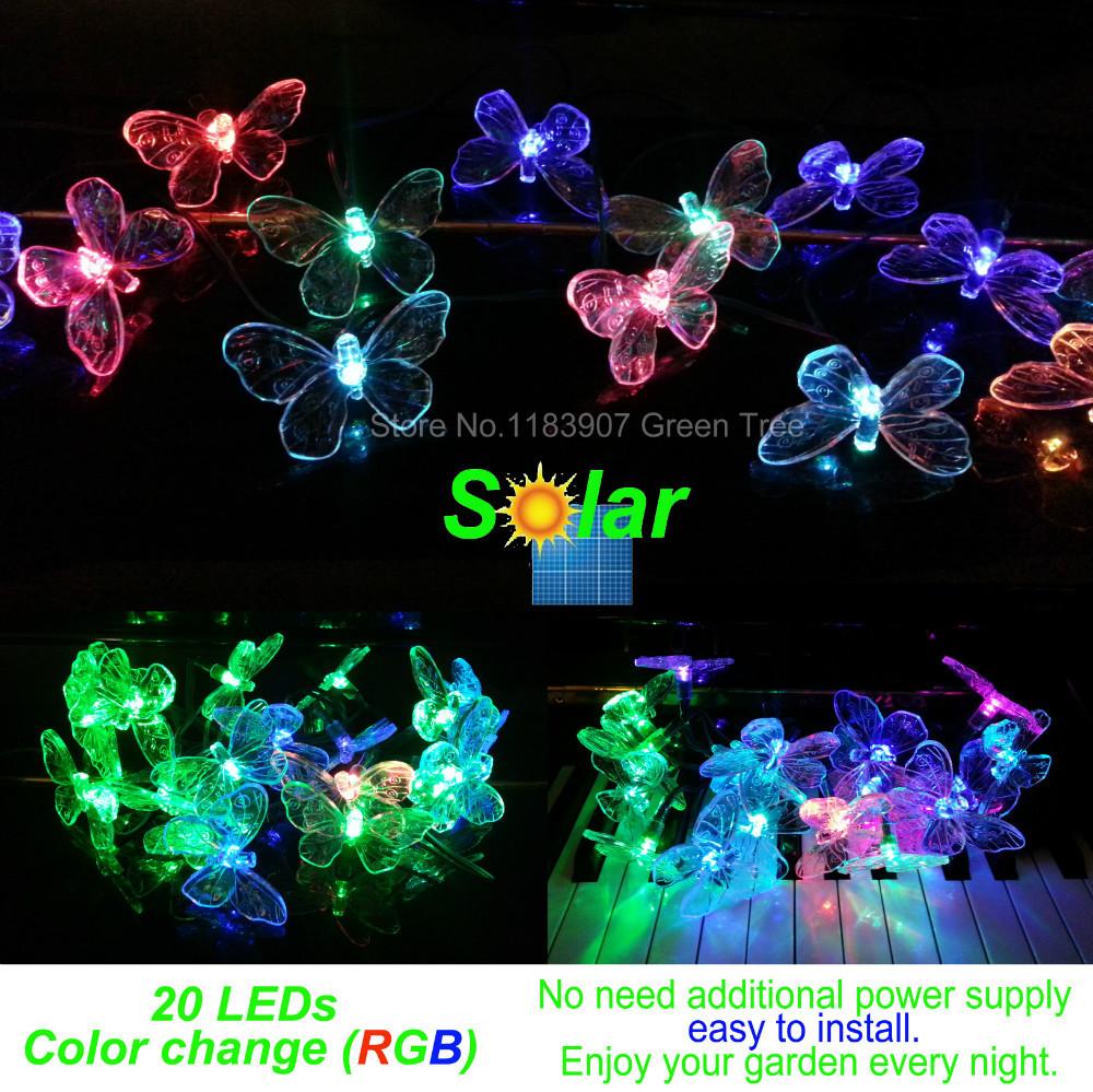 Good quality,Colorful Butterflies Solar string lights 20 LEDs colour change,Decoration LED light,Garden light(China (Mainland))