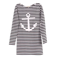New 2014 Fashion Women T Shirt Hot Selling Anchor Print Long Striped T-shirt Rock Shirt Spring Summer Tops For Women Sale T45514
