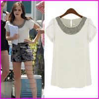 2014 Summer New Women Blouses European American Style Sweet Manual Bead Butterfly Short Sleeve Chiffon Tops Brand Shirt Women