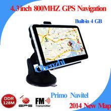 Wholesale 4.3 inch GPS Car Navigation GPS Navigation+128RAM+4G memory+ 800MHZ car gps navigation load New 3D Map,free shipping(China (Mainland))