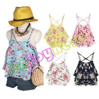 Free Shipping 2014 Fashion Women Summer Top Sleeveless Spaghetti Strap Flower Floral Print Chiffon Top Women Blouse