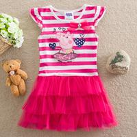 5Pcs/lot Peppa Pig New 2014 children clothing baby girls dress child kids Stripe princess dresses girls cartoon clothes H103#