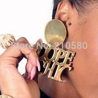 Latest Super Big Letter Fashion Earrings for Women Hip Hop Silver Gold Drop Earring Acrylic Mirror Pattern