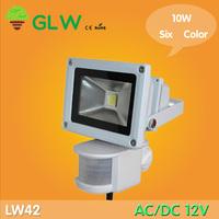 3PCS/LOT LED PIR Floodlight 10W  AC/DC 12V LED Flood light White Warm white blue green red yellow Floodlight Motion Sensor LW42