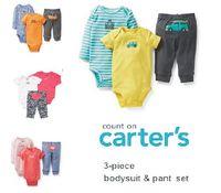 Carters Original Newl1 Summer Baby Clothing, Newborn Baby Boy and Girl Bodysuits 3-Piece Clothing Set