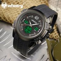 INFANTRY Luxury Sport Police Men's Black Digital Analog Wrist Watch Luminous Black Rubber Aviator Pilot Style