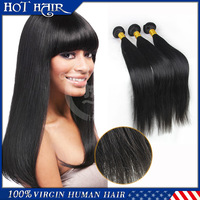 Factory price 5A unprocessed Brazilian virgin hair straight,Wholesale natural color brazilian hair extensions,3pcs,