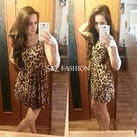SZ039 Women's Dresses Sweater Elegant Classical Vintage Sleeveless Pinup Leopard Dress Loose Casual summer Mini Print Vestidos