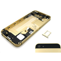 For iPhone 5S Champagne Gold Fully Assembly Midframe Plated Chassis Board Bezel Back Cover Housing Replacement,Free Shipping