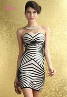 Fashion Geometric Strapless Tight Sheath Party Bandage Dress