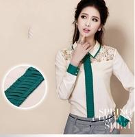 New Women Lace Shirt Long Sleeve Chiffon Blouse Blusa Renda Pink / Beige / White Camisa De Renda Plus Size XL