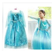 1pcs, NEW baby girl clothes vestidos de menina elsa princess dress Elsa & Anna Movie Cosplay Costume Blue party dreeese