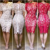 X-Large XXL Plus Size Women Clothing Bandage Dress Celebrity New 2014 Floral Boho Crochet Lace Pencil Midi Evening Brand Dress