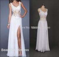 Stock Hot Sexy See Through V-Neck Side slit Chiffon Lace Long Women Evening Prom Dresses 2014 vestidos de fiesta