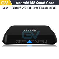 1PC M8 Amlogic S802 Quad Core Android TB box 4.4 Smart TV Box 2G/8G XBMC 4K  2.4G/5G Dual WiFi DOLBY TrueHD DTS HD Mini PC