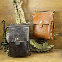 Vintage Casual Oil Wax Leather Genuine Leather Cowhide Men Small Messenger Bag Shoulder Cross Body Ipad MIni Bag Bags For Men